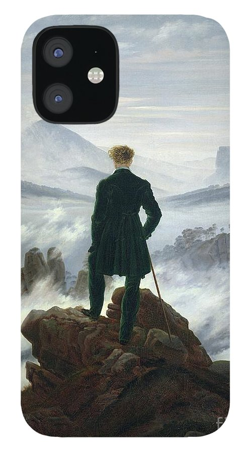 The IPhone 12 Case featuring the painting The Wanderer above the Sea of Fog by Caspar David Friedrich