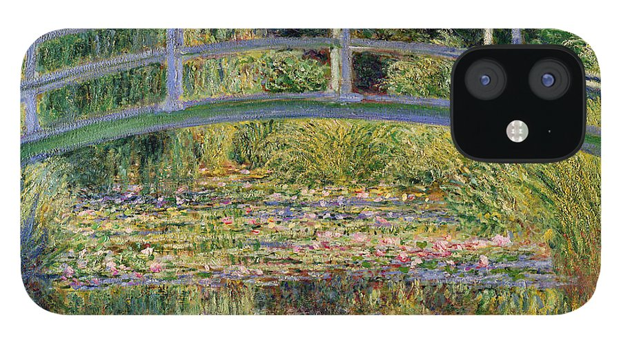 The IPhone 12 Case featuring the painting The Waterlily Pond with the Japanese Bridge by Claude Monet