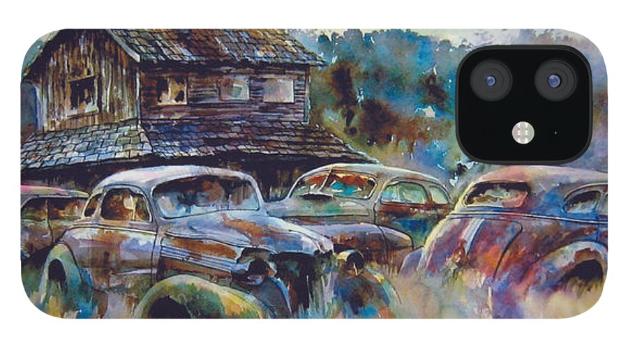 Old Rusty Dilapidated Cars House iPhone 12 Case featuring the painting The Wide Spread by Ron Morrison