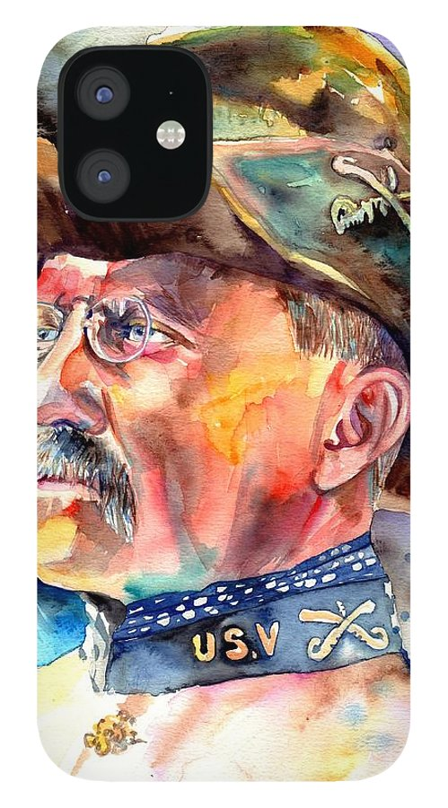 Theodore Roosevelt iPhone 12 Case featuring the painting Theodore Roosevelt painting by Suzann Sines