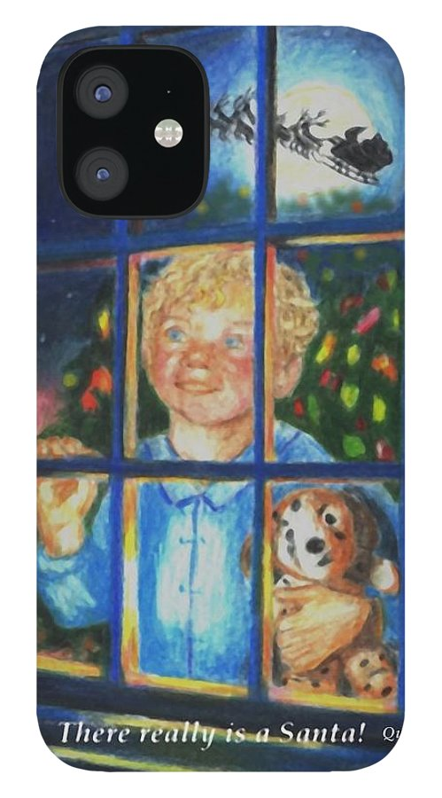 Santa IPhone 12 Case featuring the drawing There Really is a Santa by Quwatha Valentine