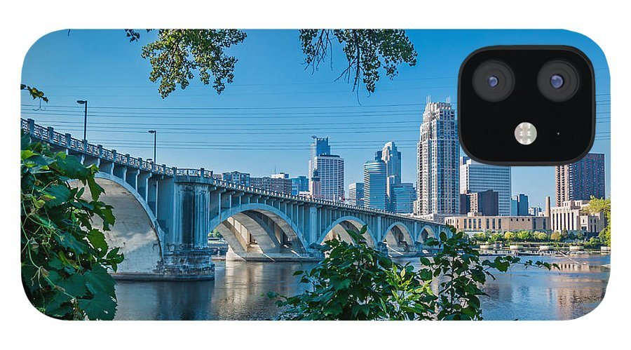 Third Avenue Bridge; Bridge; Mississippi River; St. Anthony Riverplace; Minneapolis IPhone 12 Case featuring the photograph Third Avenue Bridge Over Mississippi River by Lonnie Paulson