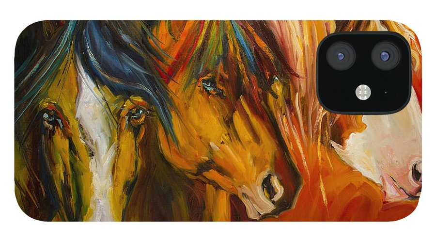 Horse iPhone 12 Case featuring the painting Three at the Fence Line by Diane Whitehead
