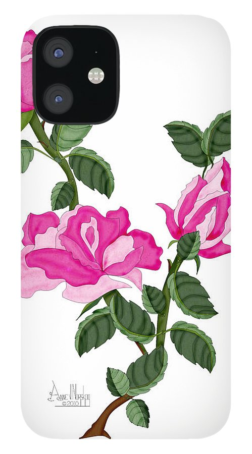 Roses iPhone 12 Case featuring the painting Three Roses in the Garden by Anne Norskog