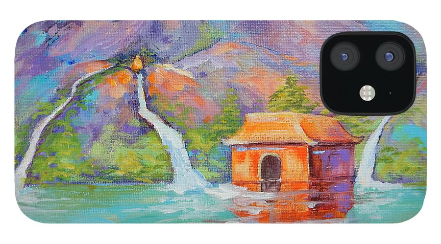 Three Scared Waters With Buddha IPhone 12 Case featuring the painting Three Sacred Waters by Caroline Patrick