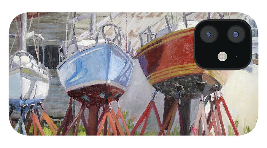 Sail Boats IPhone 12 Case featuring the painting Three Up by L Diane Johnson