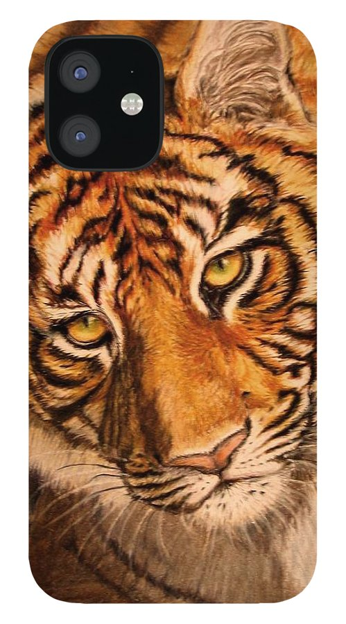 Tiger IPhone 12 Case featuring the drawing Tiger by Karen Ilari