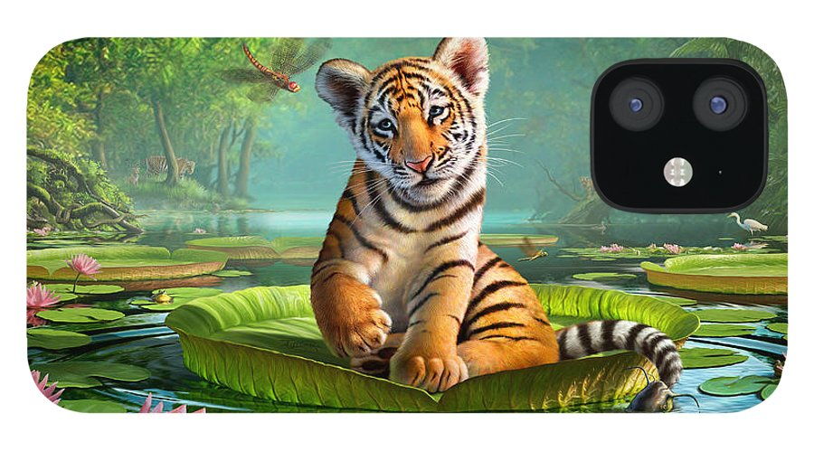 Tiger IPhone 12 Case featuring the digital art Tiger Lily by Jerry LoFaro