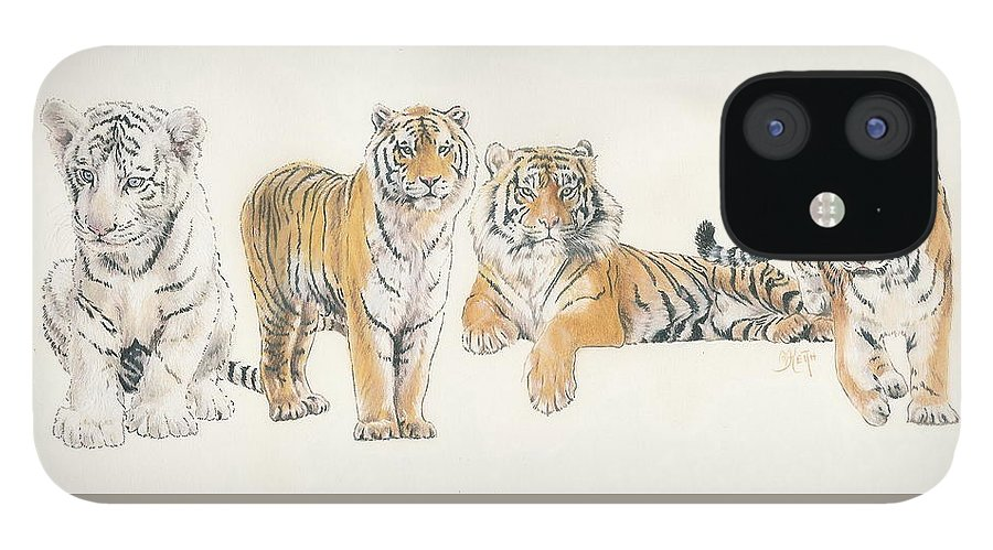 Tiger iPhone 12 Case featuring the mixed media Tiger Wrap by Barbara Keith