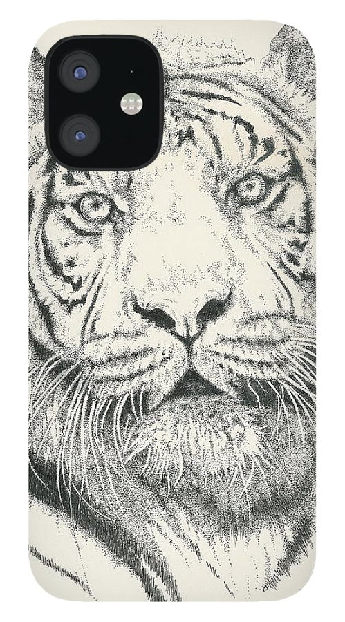 Tiger IPhone 12 Case featuring the drawing Tigerlily by Barbara Keith