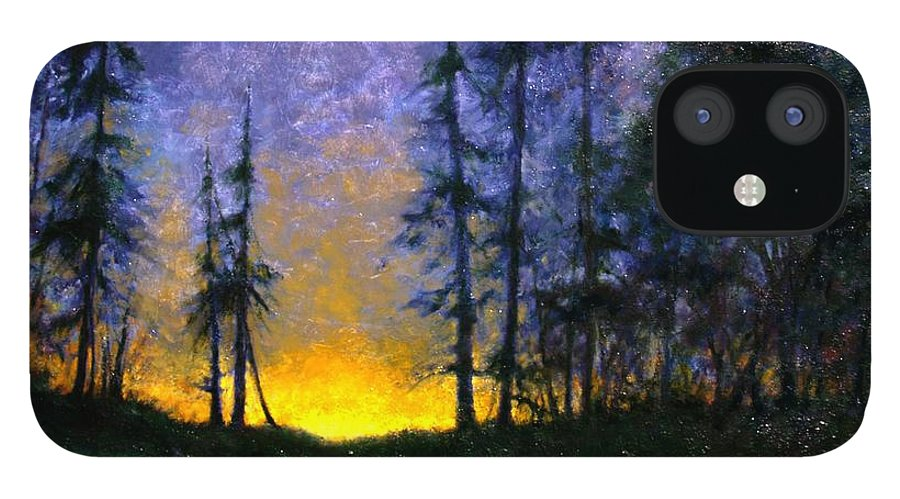 Landscape. Nocturn IPhone 12 Case featuring the painting Timberline by Jim Gola