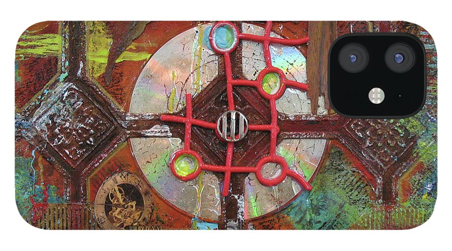 Assemblage Painting IPhone 12 Case featuring the painting Time Passage II by Elaine Booth-Kallweit
