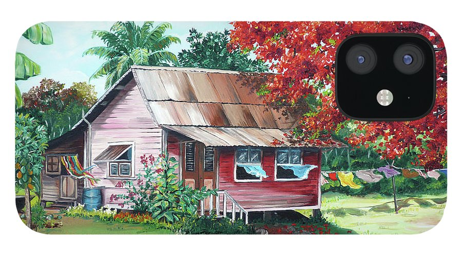 House Painting IPhone 12 Case featuring the painting Tobago Country House by Karin Dawn Kelshall- Best