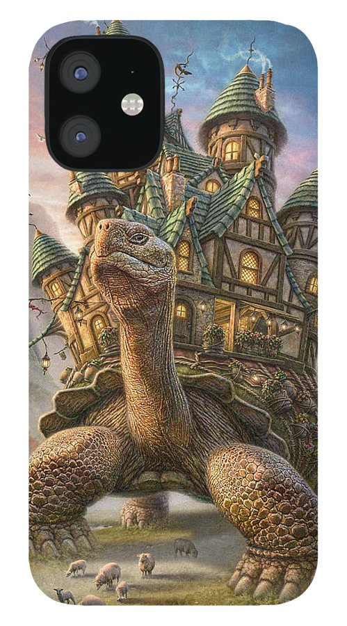 Tortoise IPhone 12 Case featuring the mixed media Tortoise House by Phil Jaeger