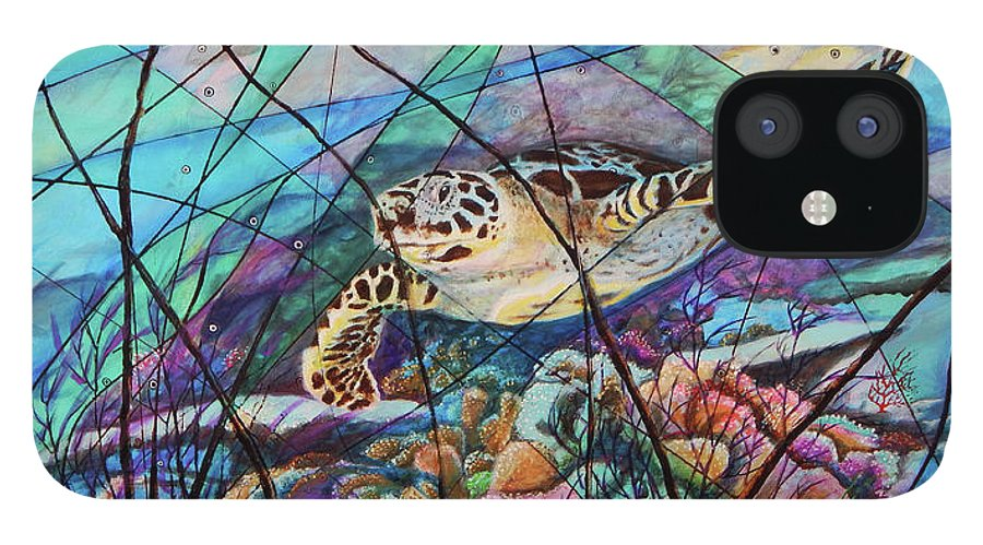 Tortuga Carey IPhone 12 Case featuring the painting Tortuga carey cropped by Angel Ortiz