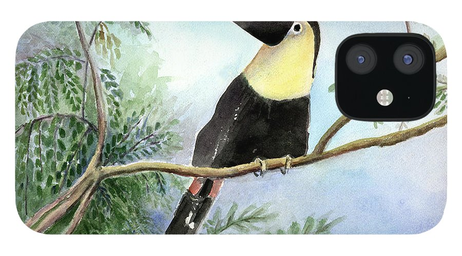 Toucan IPhone 12 Case featuring the painting Toucan by Arline Wagner