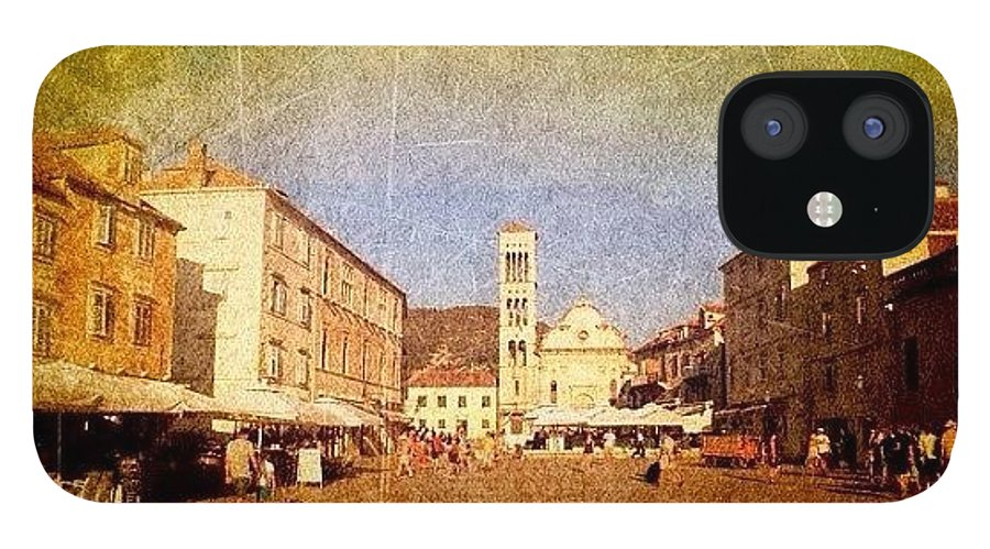 Edit IPhone 12 Case featuring the photograph Town Square #edit - #hvar, #croatia by Alan Khalfin