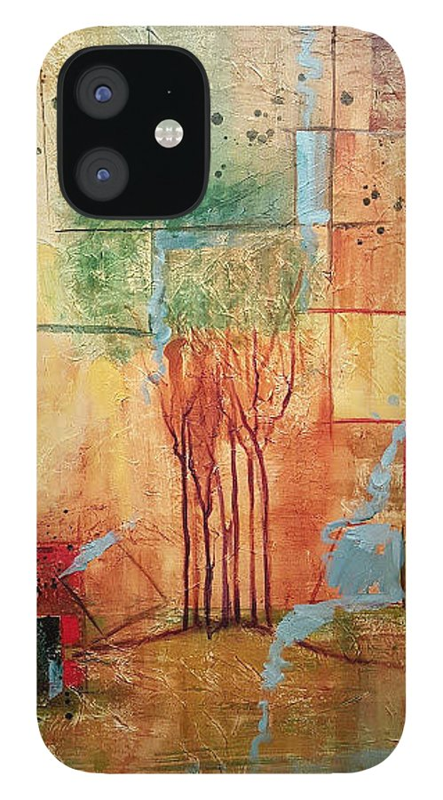 Treeline Abstract iPhone 12 Case featuring the painting Town Square by Ginger Concepcion