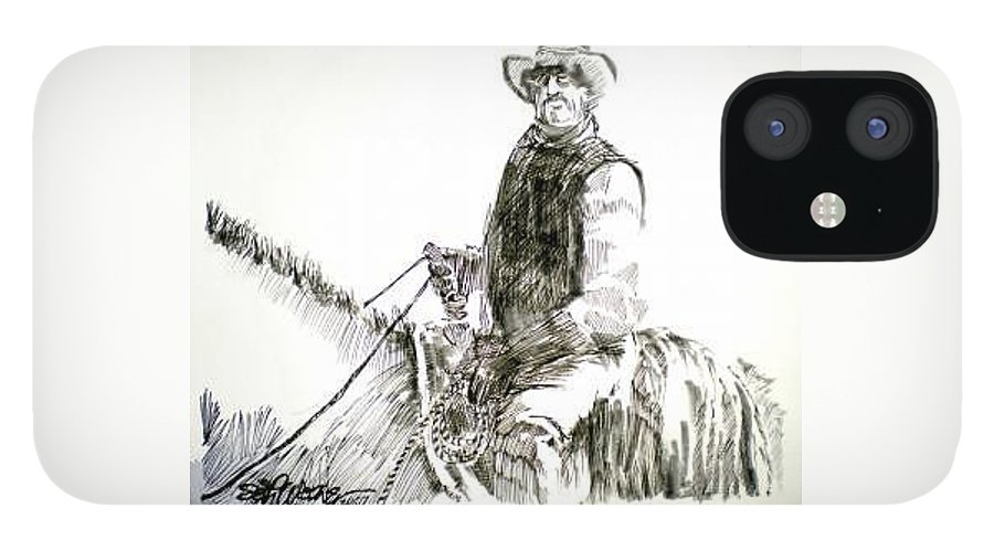 Trail Boss IPhone 12 Case featuring the drawing Trail Boss by Seth Weaver