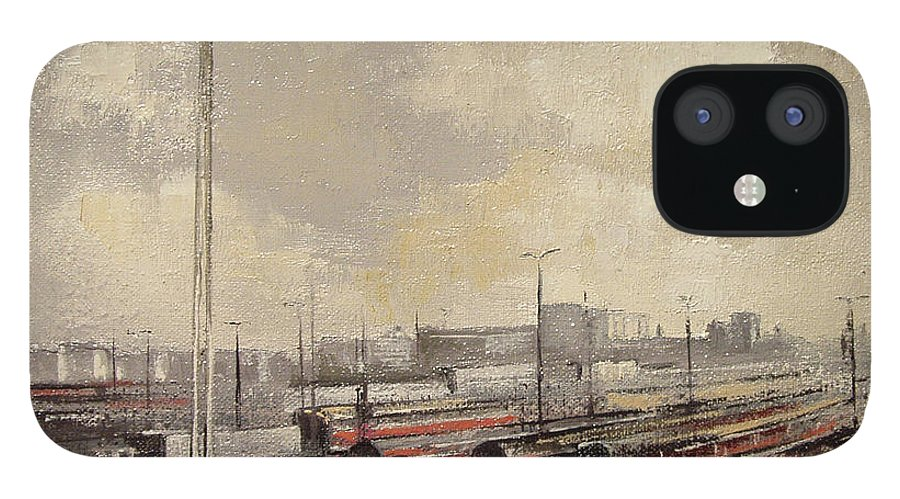 Train iPhone 12 Case featuring the painting Train station by Tomas Castano
