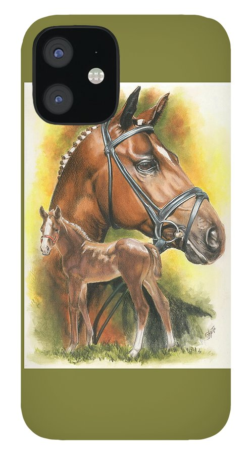 Jumper Hunter IPhone 12 Case featuring the mixed media Trakehner by Barbara Keith