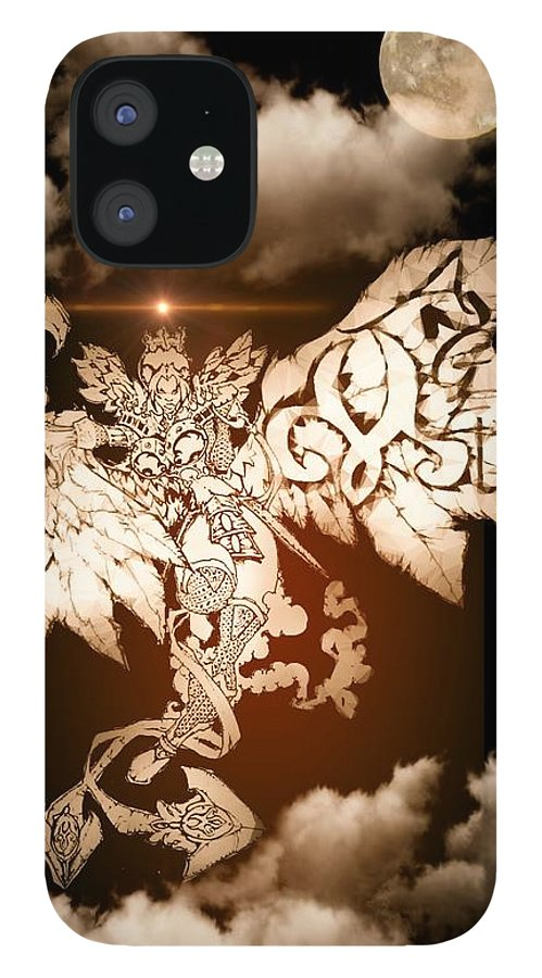 Fantasy Landscape IPhone 12 Case featuring the drawing Transcending Angel by Louis Williams