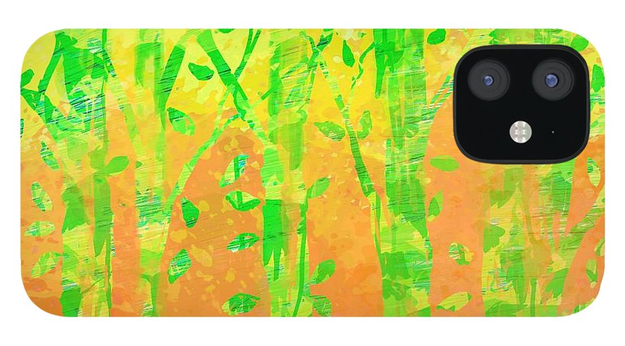 Abstract IPhone 12 Case featuring the digital art Trees in the Grass by William Russell Nowicki