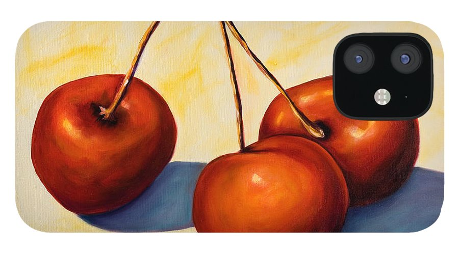 Cherries IPhone 12 Case featuring the painting Trilogy by Shannon Grissom