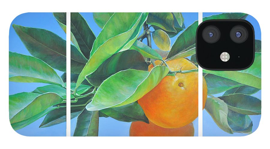 Acrylic Painting IPhone 12 Case featuring the painting Triptyque Orange by Muriel Dolemieux