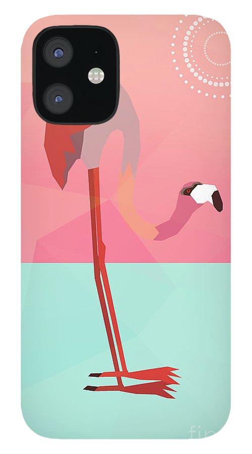 Flamingo IPhone 12 Case featuring the digital art Tropical Flamingo by Mark Ashkenazi