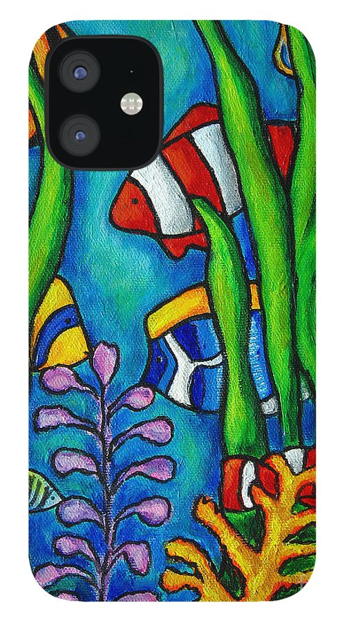 Tropical IPhone 12 Case featuring the painting Tropical Gems by Lisa Lorenz