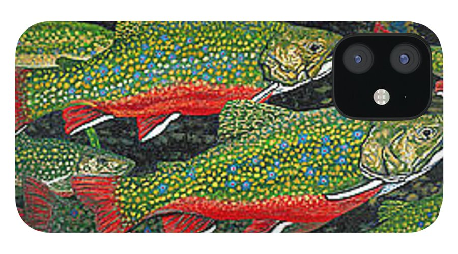 Art IPhone 12 Case featuring the painting Trout Art Brook Trout Fish Artwork Giclee Wildlife Underwater by Patti Baslee