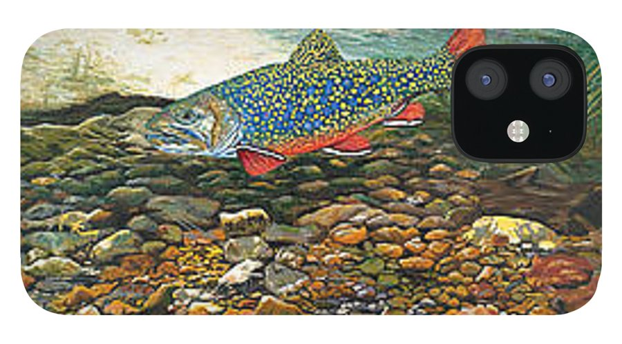 Art IPhone 12 Case featuring the painting Trout Art Fish Art Brook Trout Suspended Artwork Giclee Fine Art Print by Patti Baslee