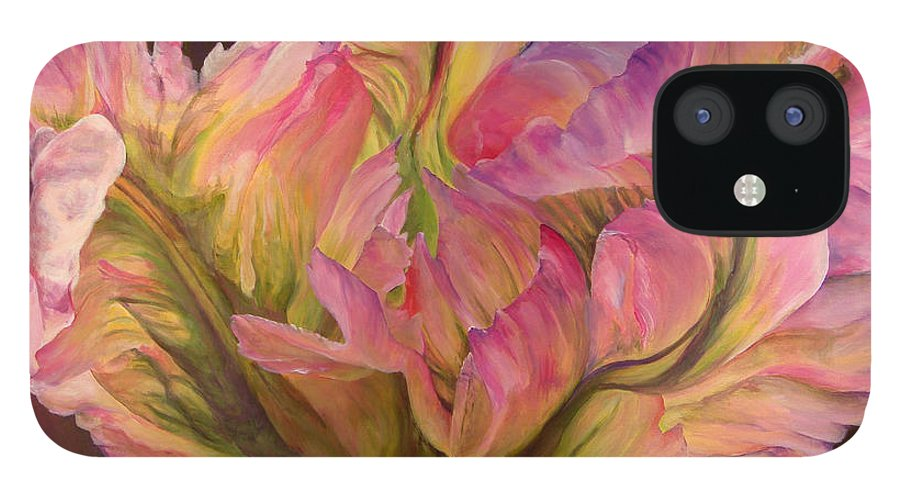 Floral Painting IPhone 12 Case featuring the painting Tulipe Explosee by Muriel Dolemieux