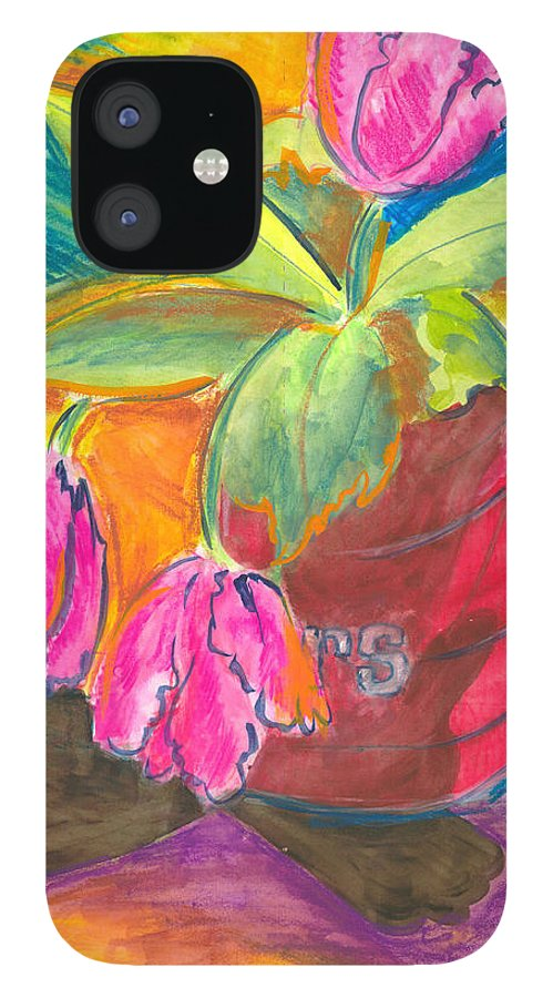 Flowers IPhone 12 Case featuring the painting Tulips In Can by Jean Blackmer