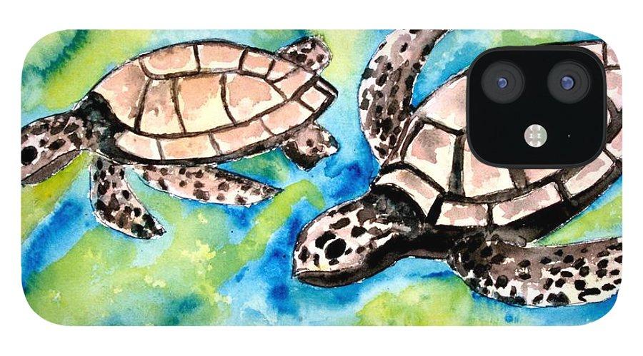 Love IPhone 12 Case featuring the painting Turtle Love Pair Of Sea Turtles by Derek Mccrea