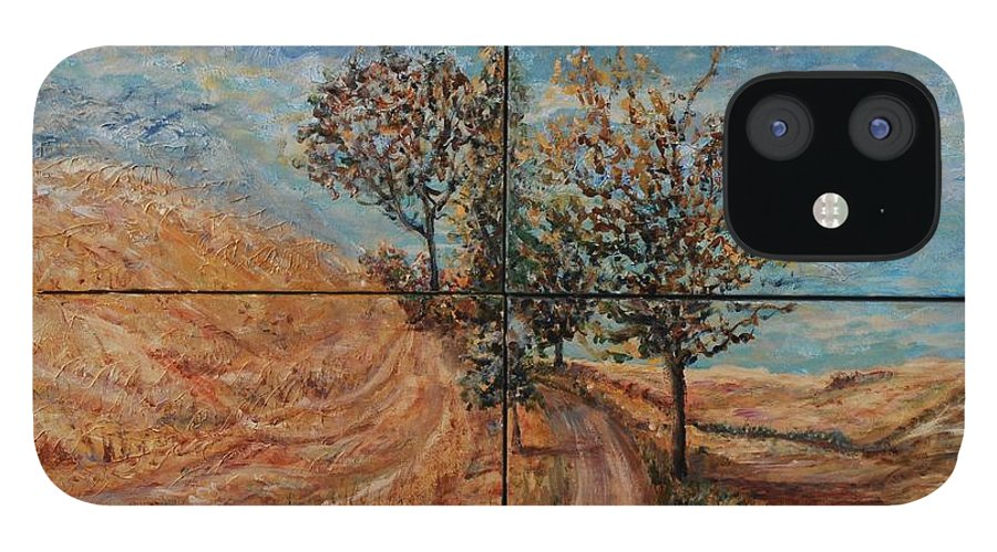 Landscape IPhone 12 Case featuring the painting Tuscan Journey by Nadine Rippelmeyer