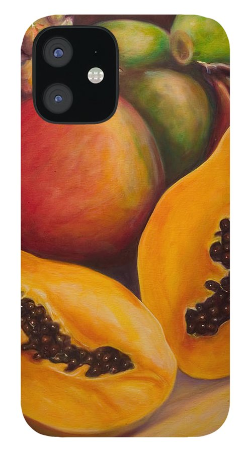 Papaya IPhone 12 Case featuring the painting Twins by Shannon Grissom