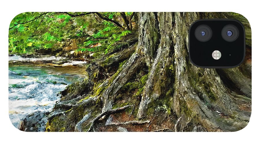 Glacier National Park IPhone 12 Case featuring the digital art Twisted Tree by Susan Kinney