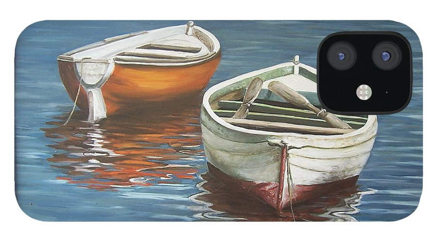 Boats Reflection Seascape Water Boat Sea Ocean IPhone 12 Case featuring the painting Two Boats by Natalia Tejera