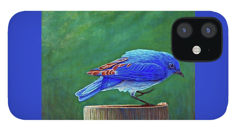 Bluebird IPhone 12 Case featuring the painting Two Step by Brian Commerford
