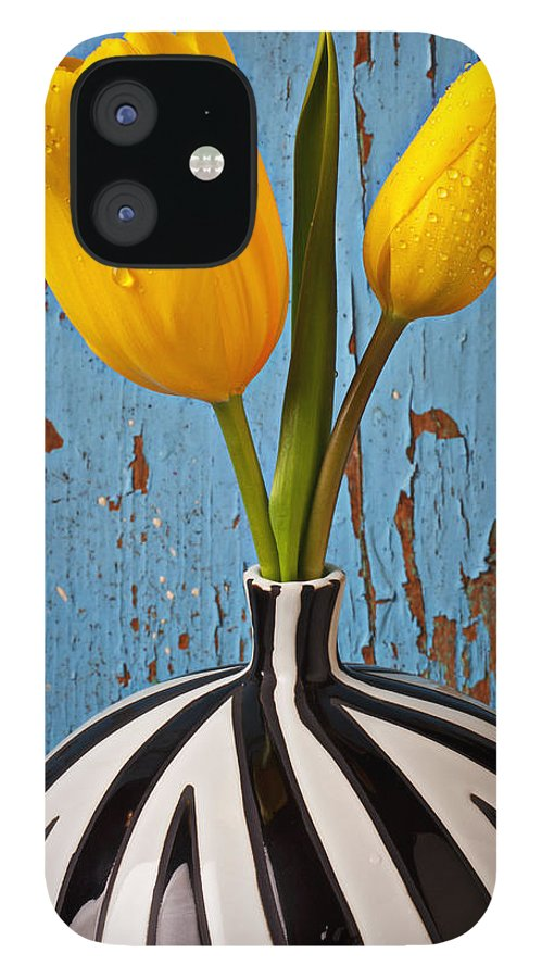 Two Yellow IPhone 12 Case featuring the photograph Two Yellow Tulips by Garry Gay