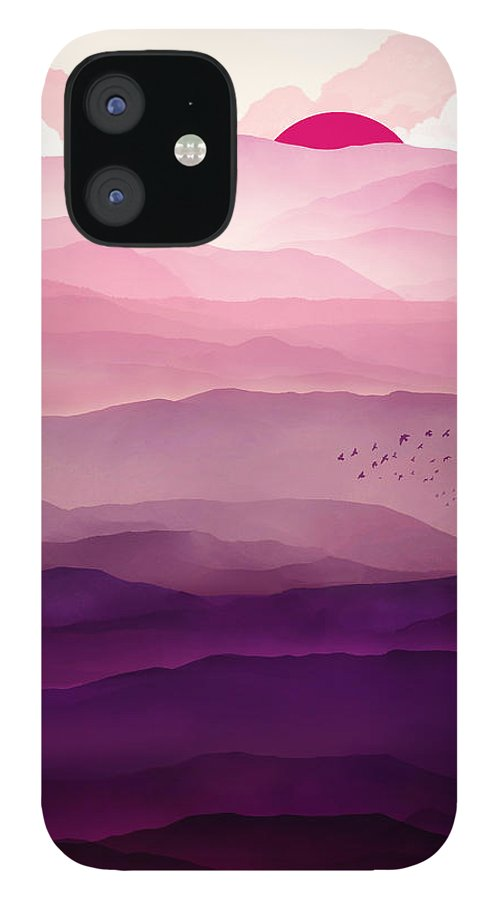 Violet IPhone 12 Case featuring the digital art Ultraviolet Day by Spacefrog Designs