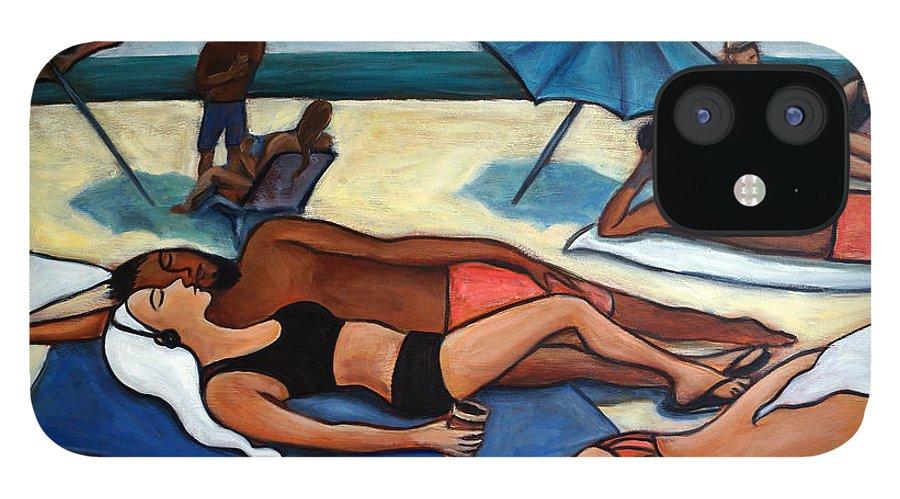 Beach Scene IPhone 12 Case featuring the painting Un Journee a la plage by Valerie Vescovi