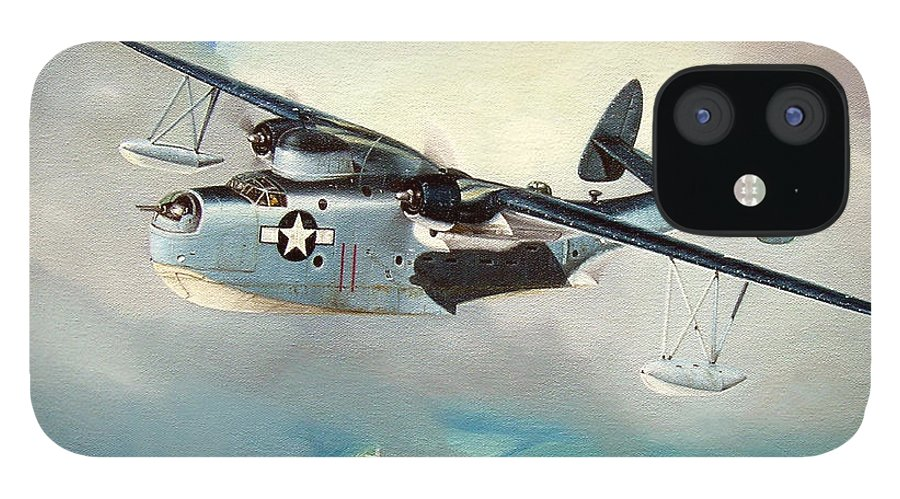 Military iPhone 12 Case featuring the painting Uncle Bubba's Flying Boat by Marc Stewart