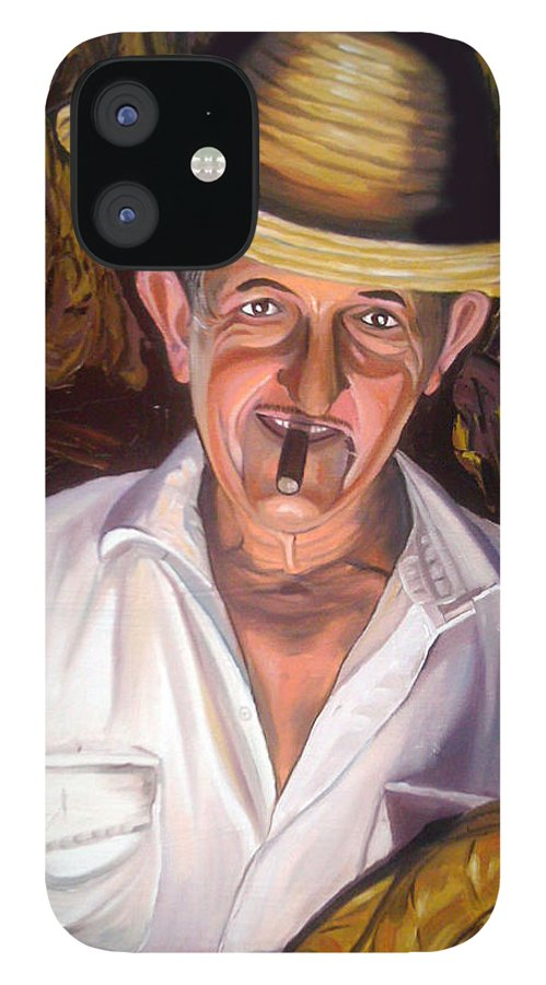 Cuban Art IPhone 12 Case featuring the painting Uncle Frank by Jose Manuel Abraham