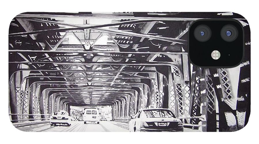 Chicago IPhone 12 Case featuring the painting Under The El by Scott Robinson