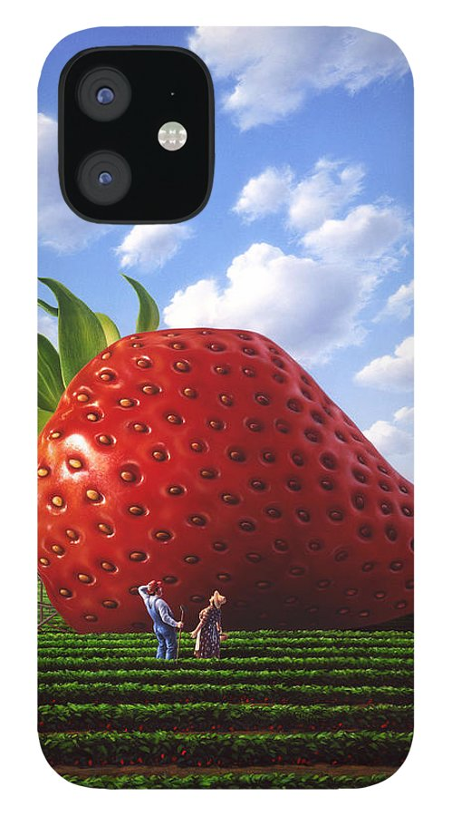 Strawberry iPhone 12 Case featuring the painting Unexpected Growth by Jerry LoFaro