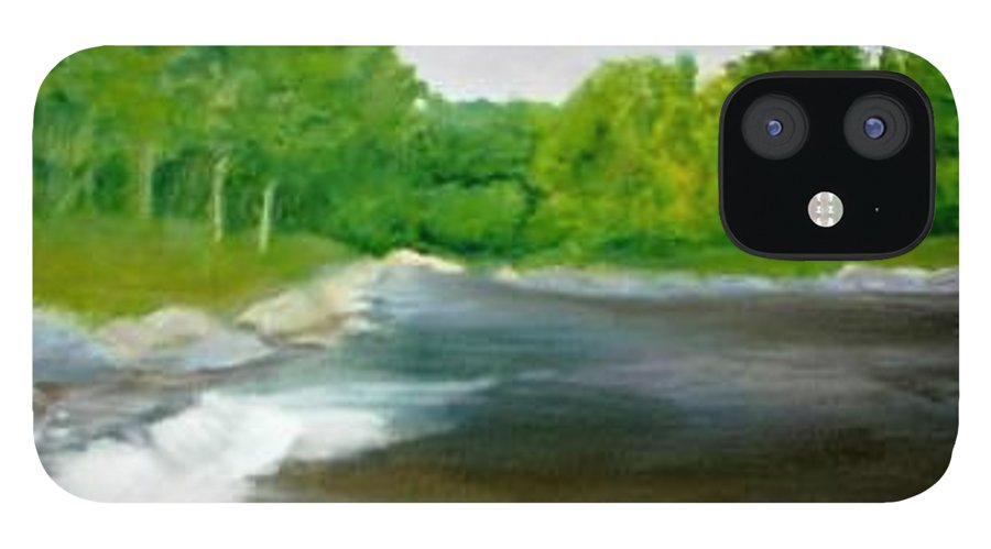 River IPhone 12 Case featuring the painting Untitled Plein Aire by Sheila Mashaw