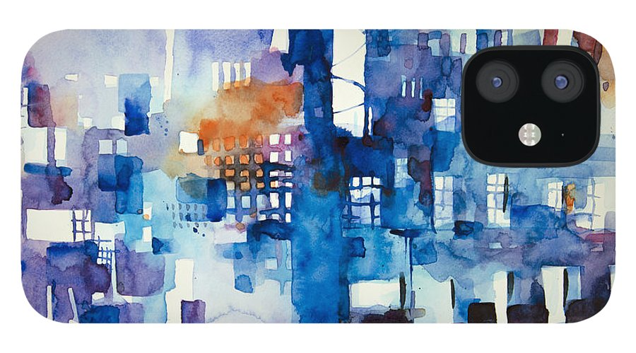 Architecture IPhone 12 Case featuring the painting Urban landscape no.1 by Alessandro Andreuccetti